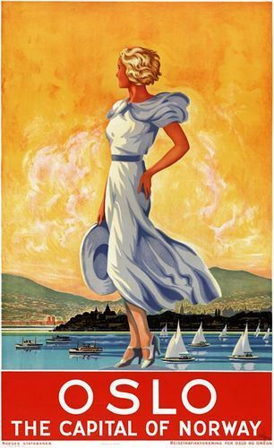 Vintage Oslo Capital of Norway Tourism Poster Print A3//A4