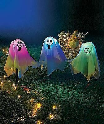Set of 3 Lighted Color Changing Ghost Yard Stakes Halloween Decoration