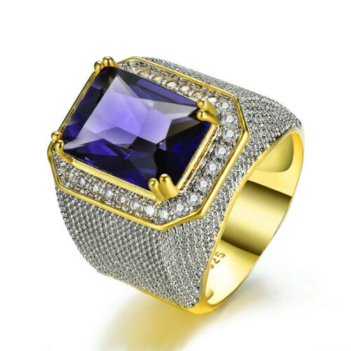 Huge Princess Cut Colored Birthstones Men Women Hip-hop Ring Gold Band Jewelry