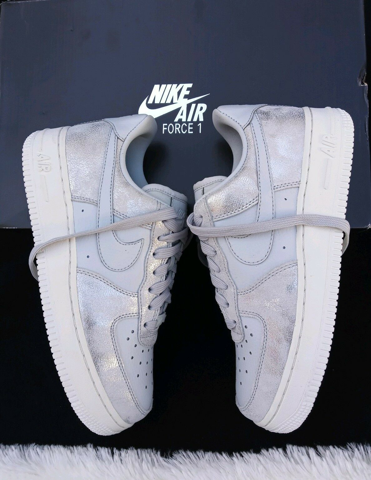 10 WOMENS Nike Air Force 1 '07 LIGHT blueE SHINE Sneakers 616125 011 casual shoes