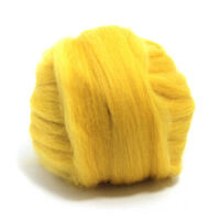 50g DYED MERINO WOOL TOP CORN YELLOW DREADS 64's SPINNING FELTING ROVING