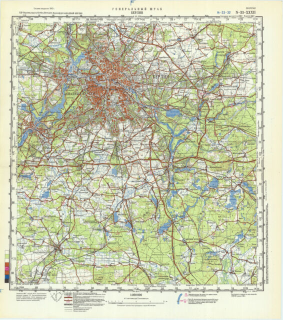 Russian Soviet Military Topographic Map Berlin Germany 1 200k