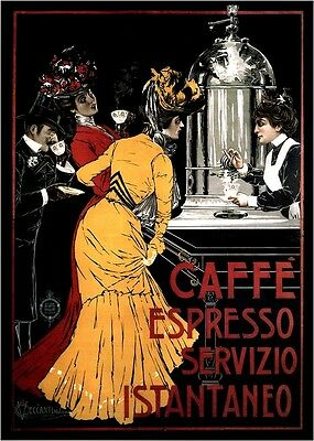 Caffe Espresso 1900 - Italy, Italian vintage old repro coffee poster