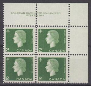 CANADA-402-2-Queen-Elizabeth-II-Cameo-Issue-UR-Plate-1-Block-MNH