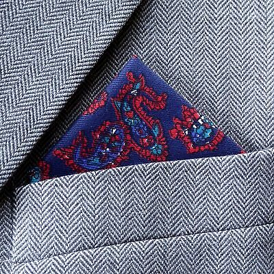 SUPERNOVA Black /& Blue Paisley Pocket Square Handkerchief Scooter Mod Indie