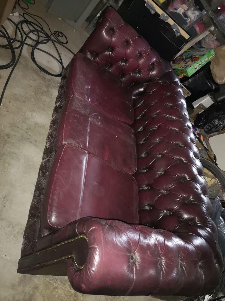 Sofagruppe, læder, Chesterfield