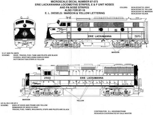 HO Scale Microscale 87-16 Erie-Lackawanna EL Diesel Locomotive Decal Set