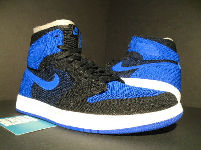 Nike Air Jordan I Retro 1 Hi Flyknit Alta OG Blanco Negro Juego Real Azul Blanco OG Nuevo 12 018e4f