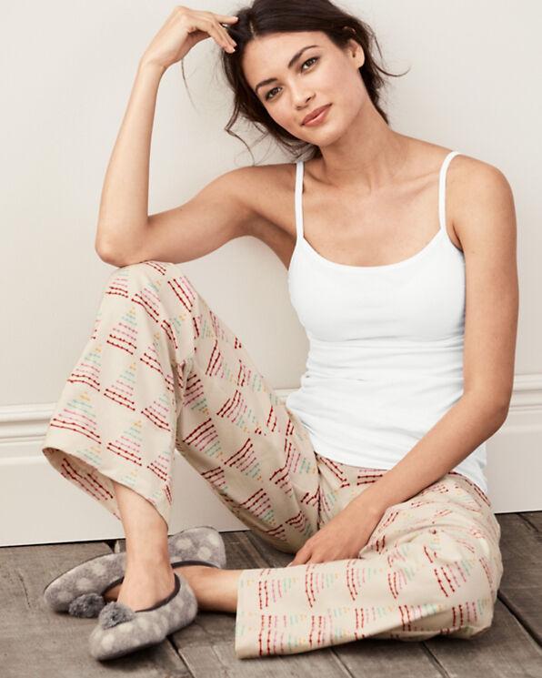 Garnet Hill - Women's M - Triangle Christmas Tree Pima Flannel Pajama Pants