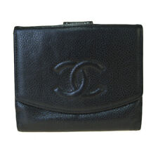 Auth CHANEL Leather Bi-fold Wallet Black