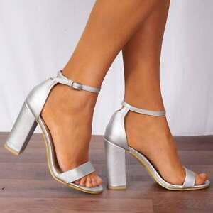 e158e9d5052 Image is loading SILVER-METALLIC-BARELY-THERE-STRAPPY-SANDALS-PEEP-TOES-