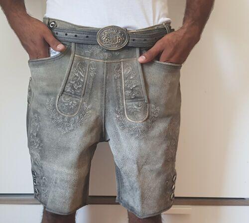 Trachten Lederhose wildbock Antik señores brevemente con cinturón marrón Gray talla 44-64 nuevo