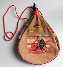 Vintage leather boto bag Spanish souvenir wine skin carrier water bottle canteen