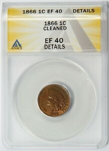 1866 1c ANACS EF40 Details, Cleaned