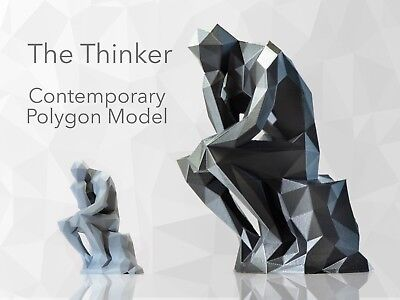 THE THINKER Low Polygon Model SculptureRodinGeometricCubistGift Poly