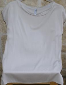 AGLINI Blause Shirt ohne Arm Seide stretch sand Gr. it 44     S Neu