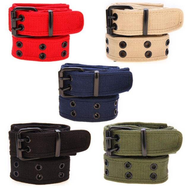 New Womens Mens Plain Cotton Canvas Webbing Waist Belt Casual Belt Pin Buckle