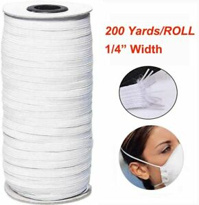 "200yds 6mm 1//4/"" White Satin Elastic Cord Spandex Band Sewing Trim Braided DIY"