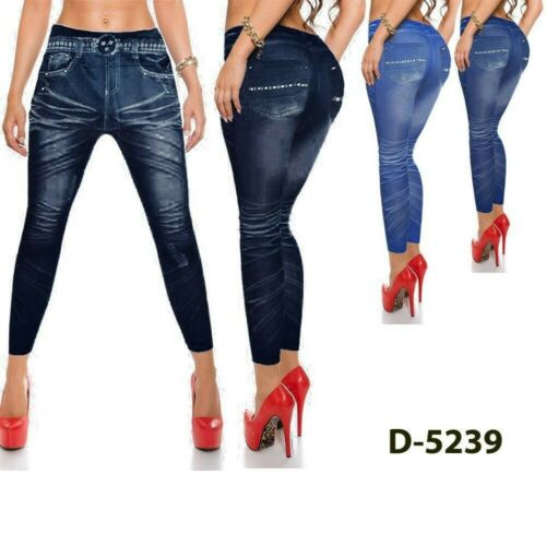 LEGGINGS JEANS JEGGINGS PANTACOLLANT PANTALONI DA DONNA SENZA CUCITURE COLORE