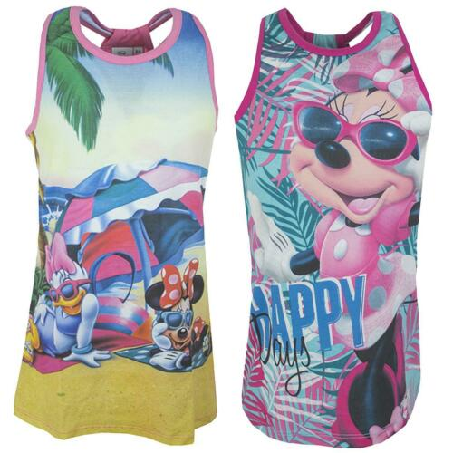 Girls Disney Minnie Mouse Beach Happy Tunic Vest Tank Summer Top 3 to 8 Years