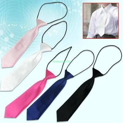 School Boys Kids Children Baby Wedding Solid Colour Elastic Tie Necktie 86EB