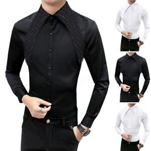 INCERUN-Men-Gothic-Steampunk-Shirt-Plus-Satin-Modern-Formal-Work-Long-Sleeve-Top
