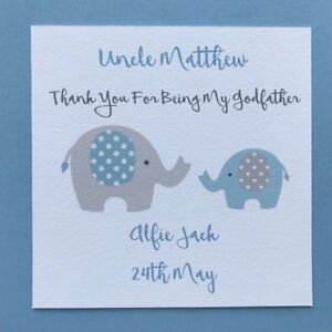Personalised Handmade Godfather Thank You Card Godmother