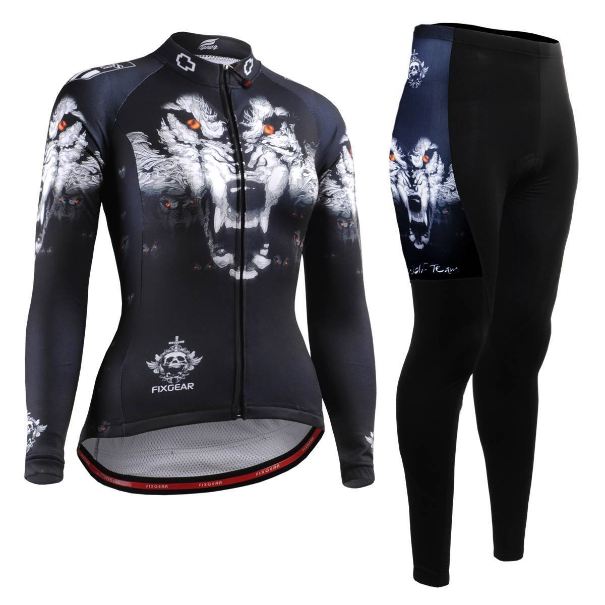 FIXGEAR CS-W1801-SET Women's Cycling Jersey & Padded Pants MTB Bike BMX Roadbike