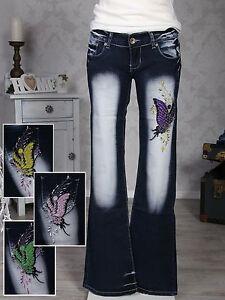 CRAZY-AGE-Damen-Jeans-Stickerei-in-4-Farben-Hosen-Bootcut-Hueftjeans-Damenjeans