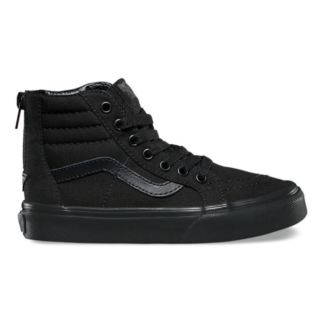 7659076a2b Kids Youth VANS Sk8 Hi Zip Pop Check Black Black Authentic ...