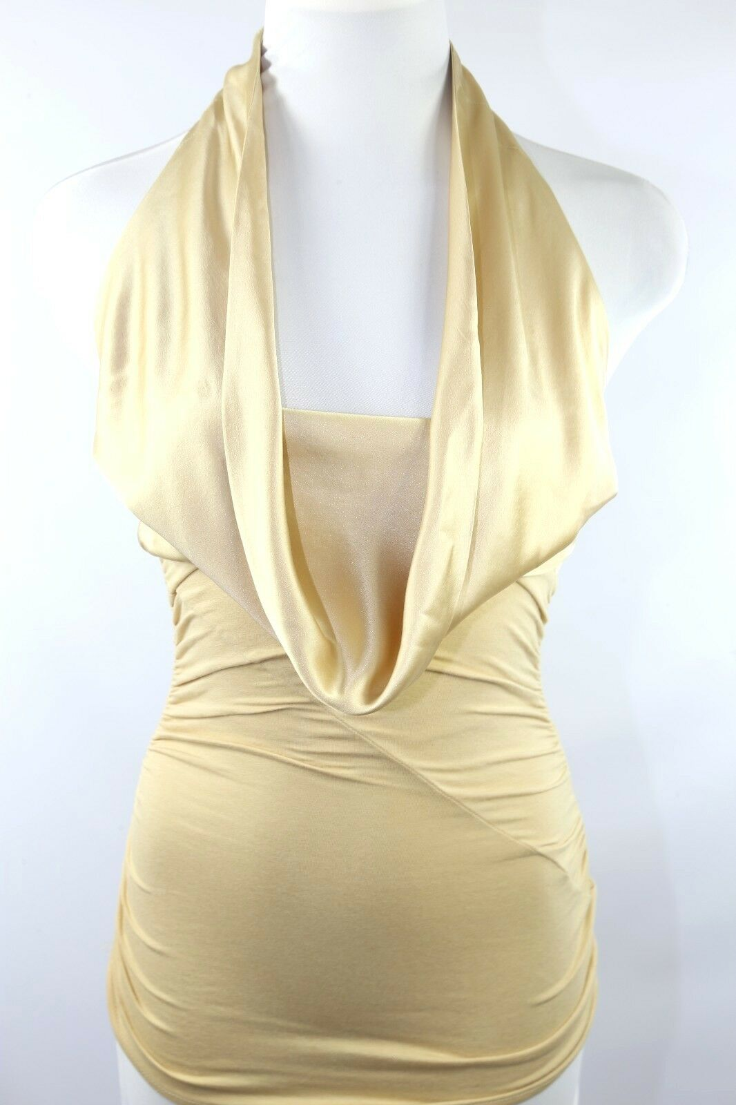 Catherine Malandrino Gold Ruched Drape Front Halter Blouse Top P XS  D10