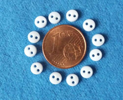 2-Loch 4 mm Durchmesser 1:12 Schneiderei 12 winzige weiße Miniknöpfe