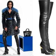 New Versace Black Leather Thigh Boots 36 - 6