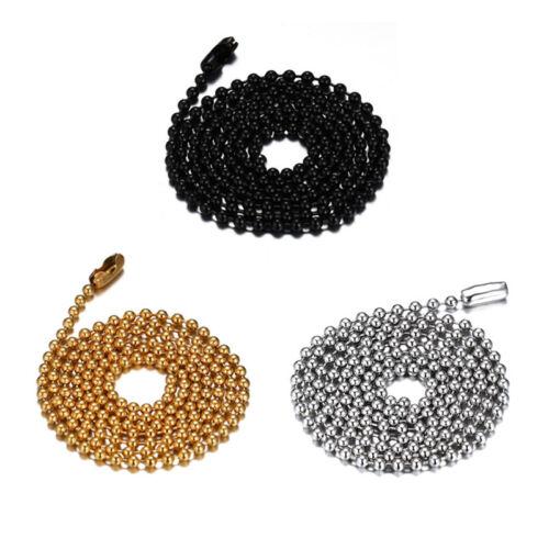 Mode Titane Acier Perles Collier Charme Argent//Or//Noir Chaîne Longue Bijoux