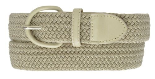 """7001 Men/'s New Leather Covered Buckle Woven Elastic Stretch Belt 1-1//4/""""  Unisex"""