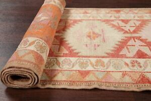 NEW-Geometric-11-ft-Turkish-Oushak-Runner-Rug-Hand-Knotted-RED-ORANGE-Wool-3x11
