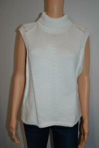 4a176ad2d1c9 NWT Helmut Lang Ecru A-Line Turtleneck Sleeveless Sweater