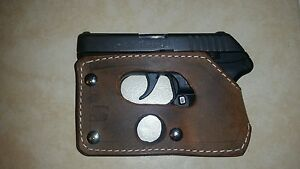 Details about Pocket Holster Fits Ruger LCP 380 / Kel-Tec P3AT Wallet Shoot  Thru Brown Leather