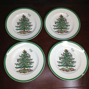 Vintage-4-Spode-Christmas-Tree-7-1-2-Salad-Plates-Set-Made-in-England-S3324