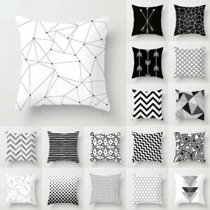 Black-amp-White-Geometric-Cushion-Cover-Pillow-Case-Home-Sofa-Waist-Throw-Square-New