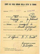 FM373_NEGOZIO DANNEGGIATO DA BOMBA, DICHIARAZIONE VIGILI URBANI DI TORINO 1943