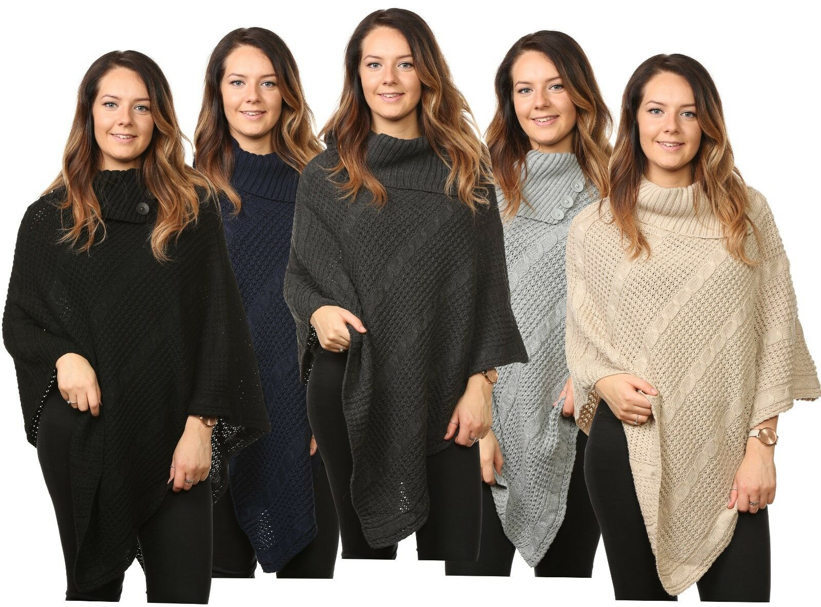 09efb6b63e0 Details about New Ladies Women s Cable Knitted Poncho Sweater Jumper Top UK  Plus Size Fits All