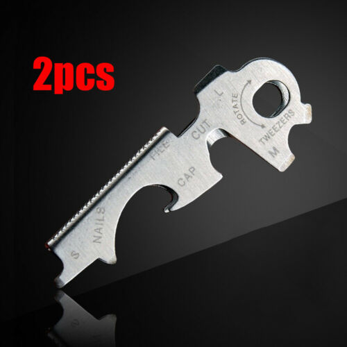 2x EDC Stainless Steel 8 in 1 Multi-function Tool Bottle Opener Key Clip Outdoor