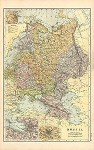 1911 VICTORIAN MAP RUSSIA INSET ODESSA St PETERSBURG MOSCOW eBay