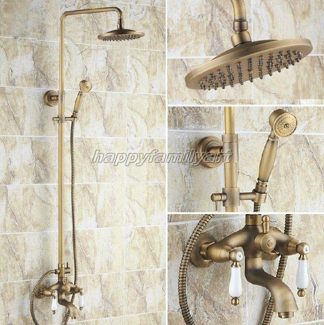 Antique Laiton Mural Salle de bain douche de pluie Robinet Set Baignoire Robinet Yrs042