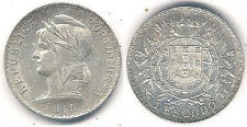1915 Portugal 1 Escudo Silver Coin in Brillant Uncirculated Condition ~