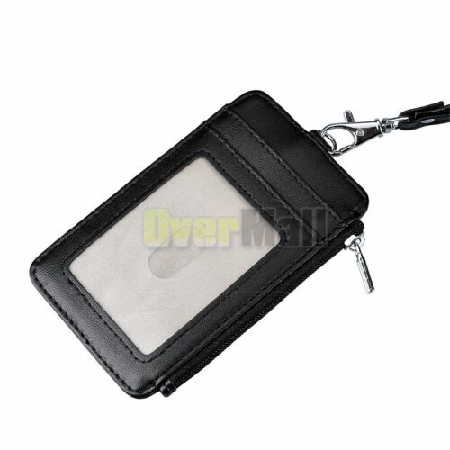 "Badge Holder RFID Blocking Double Sided PU Leather ID Card Holder w// Lanyard 16/"""