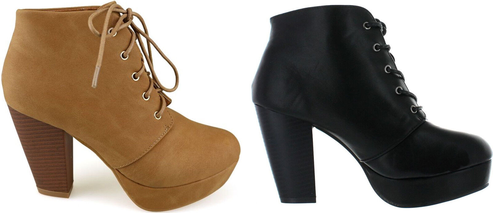 Block Chunky High Heel Ankle High Lace Up Closed Round Toe Booties Boots Shoes