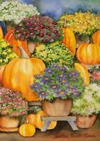Toland 12.5 x 18 in. Pumpkins & Mums Garden Flag