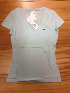 280e9c5876e Image is loading LADIES-LACOSTE-V-NECK-T-SHIRT-PALE-BLUE-